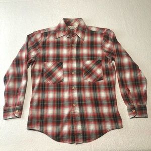 Vintage Sears Roebuck Plaid Flannel Shirt Size S